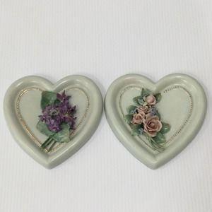 Vintage Floral Heart Porcelain Bisque Wall Hanging